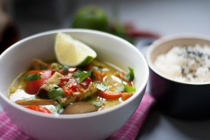 Crispy Maple Tofu & Veg Thai Green Curry