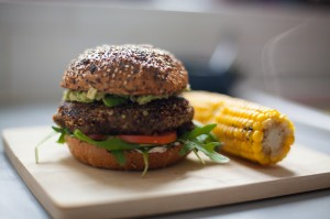 Spicy black bean, sweet potato and quinoa burger