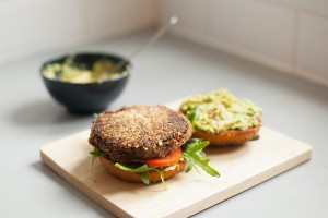 Black bean, sweet potato and quinoa burger (vegan)
