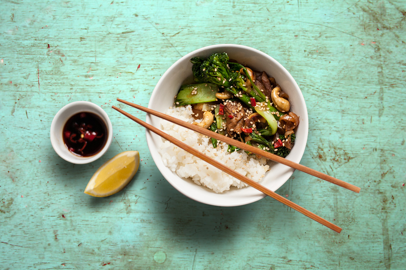 Porcini mushroom Stir Fry(with pak choi, tender-stem broccoli, cashew ...